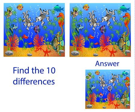 子供のイラストビジュアルパズル:海の魚から10の違いを見つける