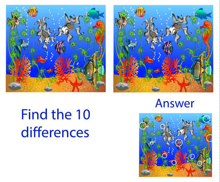 Childrens illustration Visual Puzzle: find ten differences from the fish in the sea Ilustração