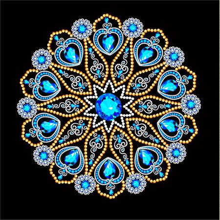 Mandala brooch jewelry, design element.  Geometric vintage ornamental background.