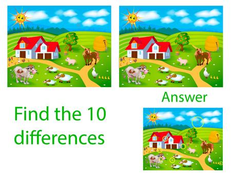 Ilustración infantil Rompecabezas visual: encuentra diez diferencias con las mascotas: vaca, cerdo, gallo, oveja en la granja