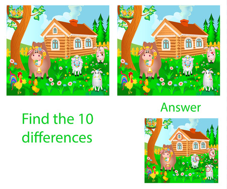 Childrens illustration Visual puzzle: find ten differences from domestic animals: a cow, a pig, a rooster and a goat on a farm Ilustracja