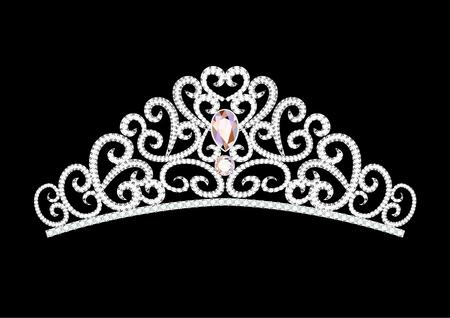 Couronne de diadème de mariage féminin illustration sur fond noir Vecteurs