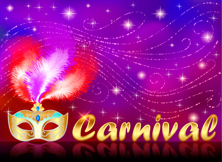 Illustration of carnival poster with gold mask with rhinestones Illustration