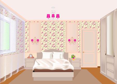 Illustration eines Schlafzimmerinnenraums mit heller Blumentapete, Bett, Nachttischen und einer Garderobe.