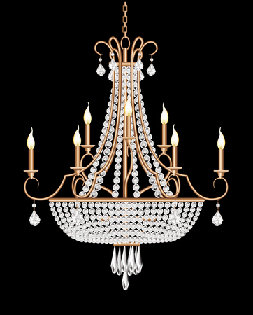 illustration of a chandelier with crystal pendants on the black Ilustração