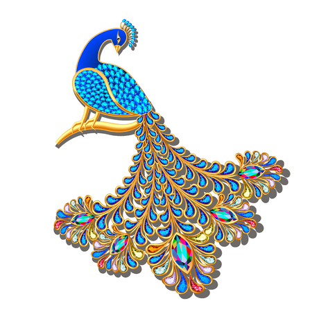 Illustration Jewelry brooch peacock with precious stones