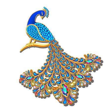 Ilustración Joyas broche pavo real con piedras preciosas