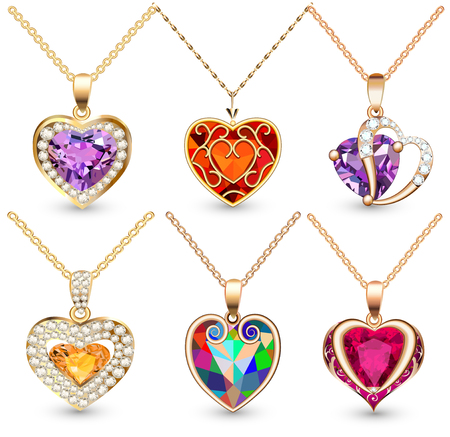 illustration set of pendants  with precious stones in the form of heart Illustration