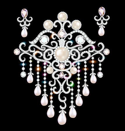 Illustration jewelry brooch and earrings with precious stones Banque d'images - 101677795