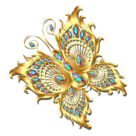 Jewellery gold butterfly in gems.