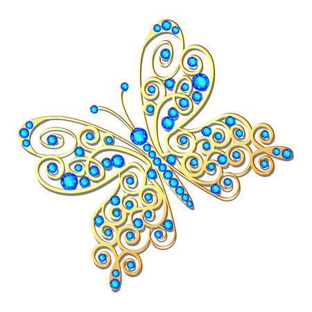 Jewelry gold butterfly in gems. Beautiful decoration. Isolated object.