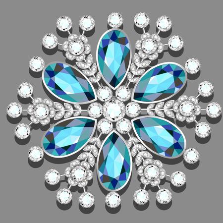 Christmas snowflake crystal precious. Beautiful jewelry, medallion, brooch, decoration on neck, mandala, frame. Fashion pattern brilliant stones, applique rhinestones, jeweler Vektorové ilustrace