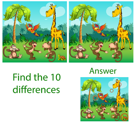 Illustration of children. The visual puzzle reveals ten differences with the beasts of a turtle, a parrot of monkeys and a giraffe in the jungle