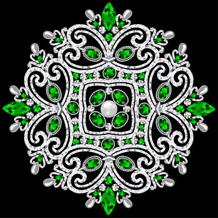 Bijoux de broche mandala, élément de design. Fond ornemental vintage géométrique.