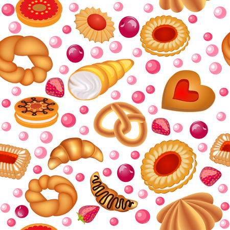 Illustration of a seamless background of fruit baking