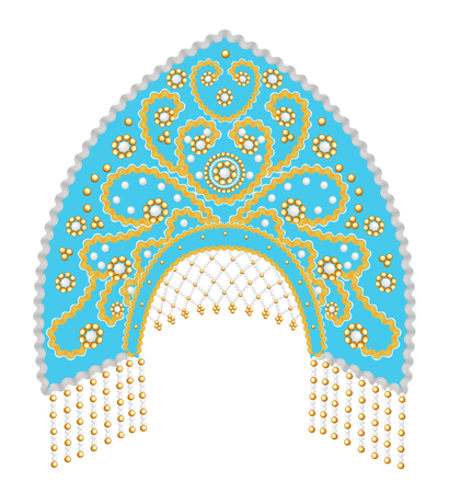 Stock Illustration Russian national headdress kokoshnik with gold ornament and beads  イラスト・ベクター素材
