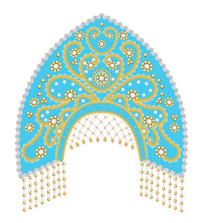 Stock Illustration Russian national headdress kokoshnik with gold ornament and beads Illustration