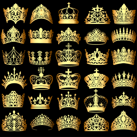 Illustration of a set of gold crowns on a black background Vettoriali