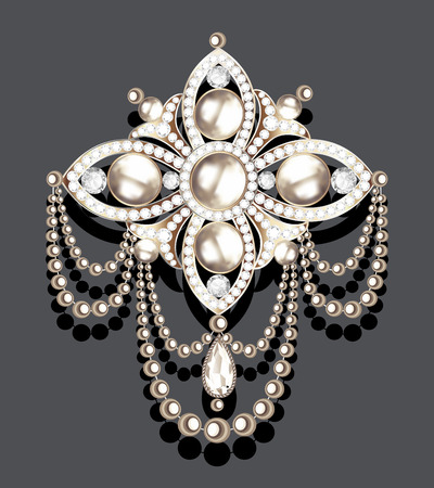 Illustration brooch vintage with precious stones and pearls, glamour,