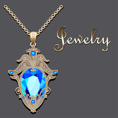 Illustration of gold pendant with filigree and precious stone