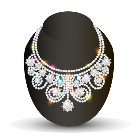 illustration of a necklace with her wedding with precious stones Vector Illustratie