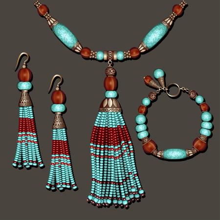 Ilustración de conjunto de joyas con aretes de turquesa, collar y pulsera de cuentas azul y marrón con borlas