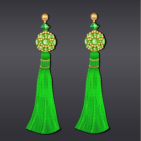 Illustration von grünen und goldenen Perlenohrringen mit Quasten Vektorgrafik