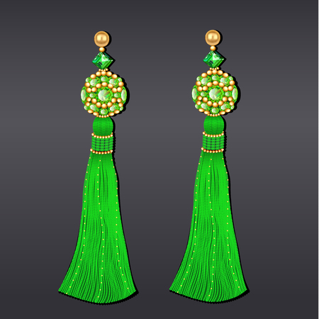 Illustration of green and gold beaded earrings with tassels Illustration