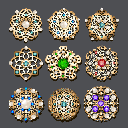 Illustration set of jewelry gold brooch with precious stones and pearls