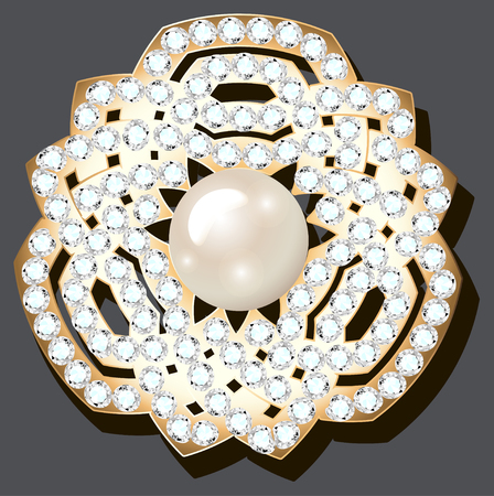 Illustration jewelry gold brooch with precious stones and pearls