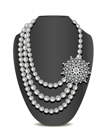 Illustration of pearl necklace and brooch and ornament Illustration
