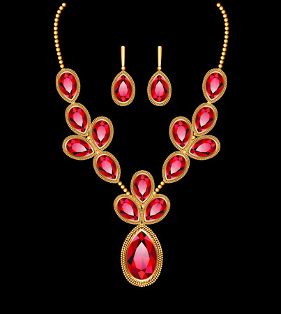 illustration of a necklace with her wedding with red precious stones