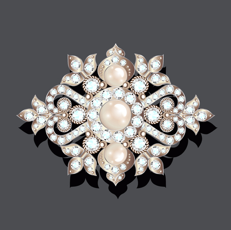 Illustration brooch vintage with precious stones. glamour,