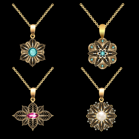 Illustration of a set of gold pendants with filigree and precious stones