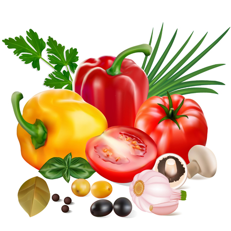 Illustration of sweet peppers with tomatoes, garlic, olives, mushrooms and onions.