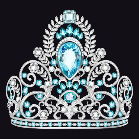 Illustration d'une belle couronne, diadème avec des pierres précieuses