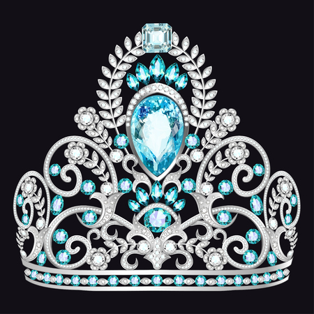 Illustration of a beautiful crown, tiara with gems