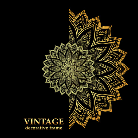 illustration background Frame with gold ornaments