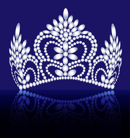 Illustration of diadem, crown, female tiara with precious stones with reflection Illustration