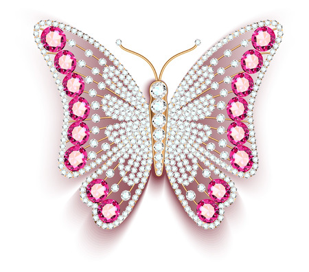 Jewelry gold butterfly in gems. Beautiful decoration. Banque d'images - 124128429