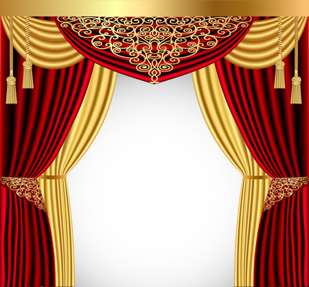 illustration of a red curtain with a gold lambrequin and a picturesque screen  イラスト・ベクター素材