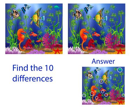 Kinderillustration Visuelles Puzzle: Finde zehn Unterschiede zu den Fischen im Meer