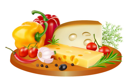 Illustration still life of cheese, tomatoes, bell peppers and spices