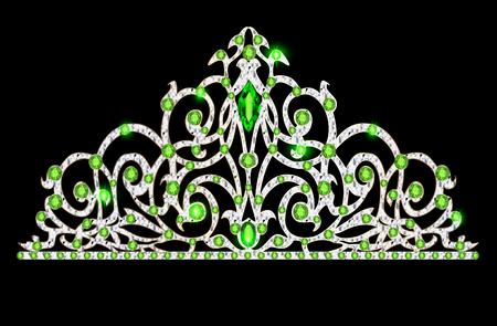 illustration of womens tiara crown wedding with green stones Illustration