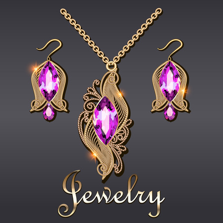 Illustration of gold pendant and earrings with filigree and gemstone Illusztráció