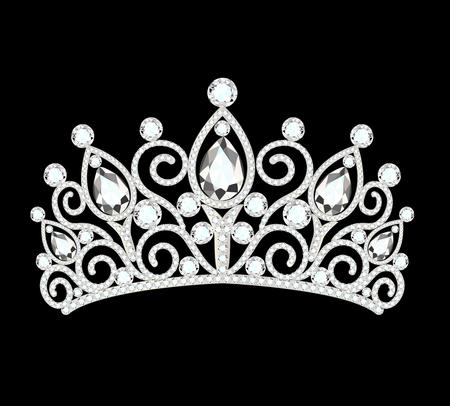 illustration of beautiful diadem, crown, tiara female with precious stones