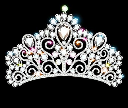 Ilustración de hermosa diadema, corona, tiara femenina con piedras preciosas