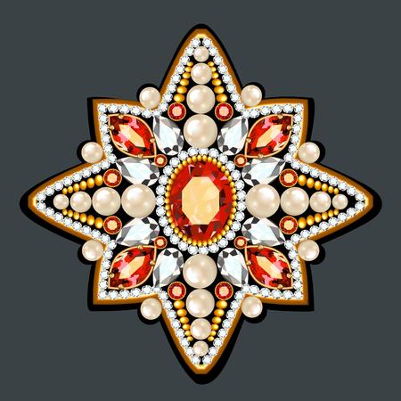 Broche de mandala, elemento de diseño. Fondo ornamental vintage geométrico.