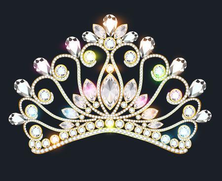 illustration crown tiara women with glittering precious stones Ilustración de vector