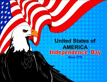 illustration of america independence day greeting card with flag and eagle Ilustração
